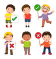 set of boys holding and doing right and wrong vector image