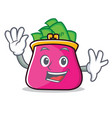 waving purse character cartoon style vector image