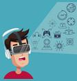 young man virtual reality wearing goggle digital vector image