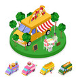 isometric street food pizza truck with people vector image