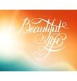 Beatiful Life - calligraphic words and bokeh vector image vector image