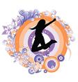 retro floral emblem vector image