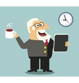 Boss with tablet and coffee vector image