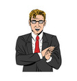 comic man business with suit tie design vector image