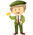 Frenchman with cheese and wine in hands vector image