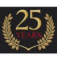 golden laurel wreath twenty five years anniversary vector image