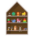 kids shop shelf with toys colorful childish vector image
