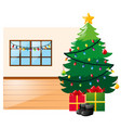 scene with christmas tree and present boxes vector image