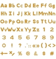 Alphabet numbers and signs set wood vector image vector image