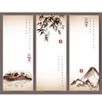 Vintage banners with bamboo mountains and island vector image