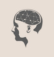 a woman head with brain vector image