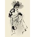 Beautiful woman portrait wearing vintage hat vector image