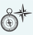 Black wind rose and compass vector image
