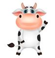 Cute cow cartoon waving vector image