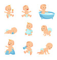 happy smiling baby cute cartoon toddlers vector image