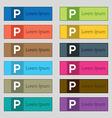parking icon sign Set of twelve rectangular vector image