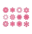 Red snowflakes on white background vector image