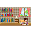 Two girls reading books beside the bookshelves vector image vector image
