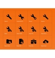 Repair Wrench icons on orange background vector image
