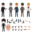 business man with parts of the body vector image vector image