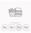 Burger and fries icon Chips sandwich sign vector image