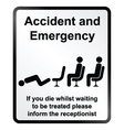 Accident and Emergency Information Sign vector image