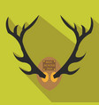 deer antlers horns icon in flat style with long vector image