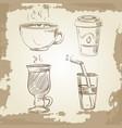 hand drawn coffee tea and lemonade on vintage vector image
