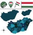 Hungary map with named divisions vector image