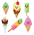 Kawaii ice cream and popsicles vector image