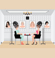 women waiting for while drying under hairdryer in vector image