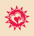 sun and heart in hand vector image