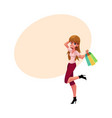 happy caucasian girl woman with shopping bags vector image