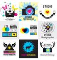 set of vintage photo studio logo labels badges vector image