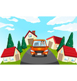 Man driving car in the neighborhood vector image vector image