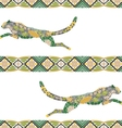Seamless puma pattern made from flowers leaves vector image