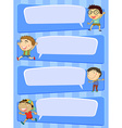 Label design with four different boys vector image
