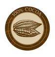 label with cocoa beans vector image