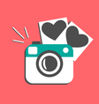 Love flat photo camera with hearts photo frames vector image