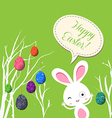 happy easter eggs and bunny greeting card vector image vector image