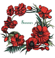 Poppies round color vector image vector image