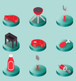 bbq color isometric icons vector image