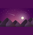 cartoon night landscape comet moon mountains vector image