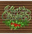Christmas tree holly and decorative elements on vector image