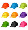 colored baseball caps templates set of vector image