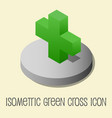 heath icon isometric style green cross vector image