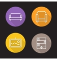 Interior flat linear icons set vector image