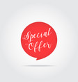 special offer label handdrawn lettering red vector image