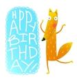 Happy birthday card design with cute cartoon fox vector image