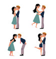 set of young couple man and woman kissing vector image